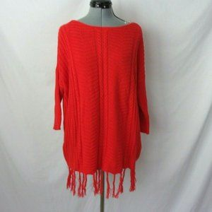 Westbound Sweater Cable Knit Fringe Hem Red